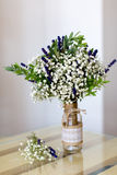 Fragrant bouquet of baby's breath with eucalyptus and lavender Royalty Free Stock Image