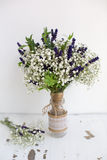 Fragrant bouquet of baby's breath with eucalyptus and lavender Stock Photo