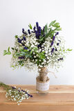 Fragrant bouquet of baby's breath with eucalyptus and lavender Stock Images