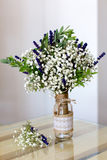 Fragrant bouquet of baby's breath with eucalyptus and lavender Royalty Free Stock Photo