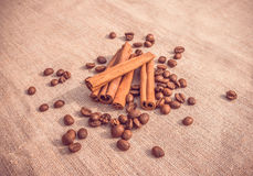 Fragrant cinnamon and coffee. The ambiance for a romantic dinner tete-a-tete Stock Image