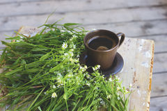 Fragrant coffee with flowers Royalty Free Stock Photos