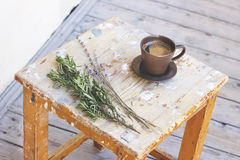 Fragrant coffee with flowers Stock Photography