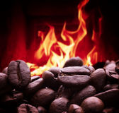 Fragrant coffee grains Royalty Free Stock Images