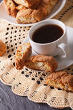 Fragrant coffee and Italian cookies cantuccini closeup. vertical Stock Photography