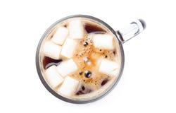 Fragrant coffee with mini marshmallows Stock Photos