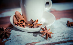 Fragrant coffee on a wooden background, espresso cup and saucer Stock Image