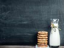 Fragrant cookies and fresh milk stock photos