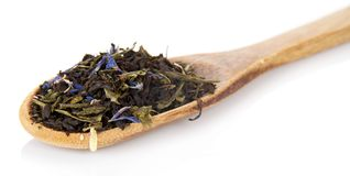 Fragrant dry tea leaves with cornflowers in the Royalty Free Stock Images