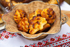 Fragrant fresh bread rolls in a basket Royalty Free Stock Image