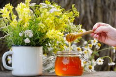 Fragrant, fresh, golden honey in a glass jar. Royalty Free Stock Images