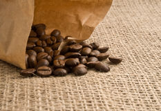 Fragrant fried coffee beans Stock Images