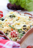 Fragrant homemade pasta with spinach and cheese Royalty Free Stock Photography
