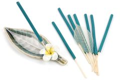 Fragrant incense. Sticks of fragrant incense on the white stock image