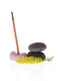 Fragrant incense, pebbles and flower Stock Photography
