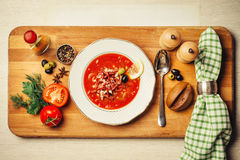 Fragrant meat soup with lemon, olives Royalty Free Stock Images