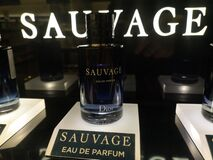 Fragrant perfume water for men Sauvage Eau de Parfum Christian Dior of Dior January 15, 2020 at a shopping mall in Russia, Kazan,