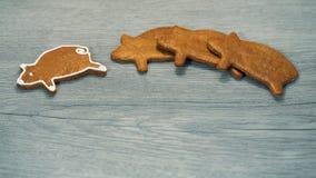 Fragrant piernikowy prosiątka szczęście na drewnianym tle na dobre fotografia royalty free