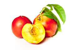 Fragrant ripe peach. Isolated on a white background Royalty Free Stock Photos