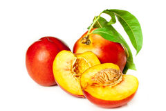 Fragrant ripe peach. Isolated on a white background Stock Images
