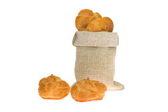 Fragrant rolls in a linen bag Stock Photos