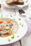 Fragrant soup with pork, noodles and vegetables Royalty Free Stock Photo