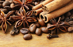 Fragrant spices and coffee. On a wooden background Stock Photo