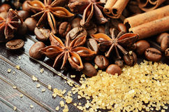 Fragrant spices, coffee and reed sugar Royalty Free Stock Photo