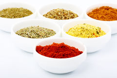 Fragrant spices for meat. Dishes in special cups on a white background Royalty Free Stock Photography