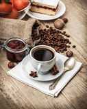 Fragrant strong coffee with sweet dessert Stock Photography