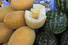 Fragrant sweet melons and watermelons Royalty Free Stock Photography