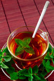 Fragrant tea with fresh leaves of green tea Royalty Free Stock Image