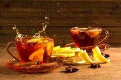 Fragrant tea with lemon and cinnamon Stock Image