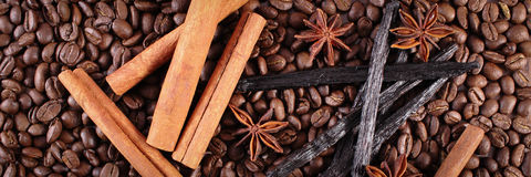 Fragrant vanilla, cinnamon sticks, star anise on coffee grains Stock Photos