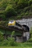 Fraight train in Belgium crossing mountain and bridge stock photos