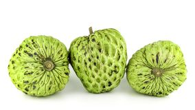 Frais corossol ou Sugar Apple Fruit Annona mûr, pomme cannelle d'isolement sur le fond blanc Photo libre de droits