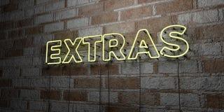 FRAIS SUPPLÉMENTAIRES - Enseigne au néon rougeoyant sur le mur de maçonnerie - 3D a rendu l'illustration courante gratuite de red Images stock