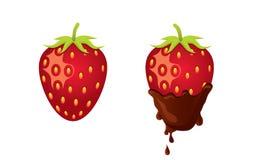 Fraise avec du chocolat illustration stock