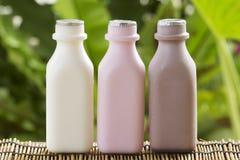 Fraise, chocolat et bouteilles à lait fraîches Photographie stock libre de droits