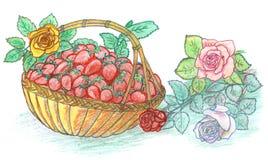 Fraise dans le panier et les roses Images stock