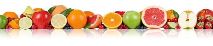 Fraise de framboise de baie de pomme de citron d'oranges de frontière de fruits dedans Image libre de droits