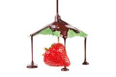 Fraise de parapluie de chocolat Image libre de droits