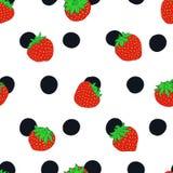 Fraise et modèle sans couture de vecteur de point de polka illustration stock