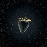 Fraise noire flottant dans le ciel 3d rendent Photo libre de droits