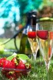 Fraises avec de la crème et le champagne fouettés Images stock