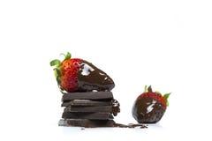 Fraises avec le revêtement de chocolat Photographie stock libre de droits