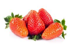 Fraises d'isolement sur les fruits blancs de nourriture de fond Photos libres de droits