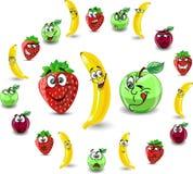 Fraises et pommes de dessin animé d'émotion illustration de vecteur