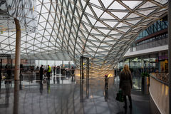 FRAKFURT ON MAIN, GERMANY - NOVEMBER 01,2016: The interior of MyZeil shopping center in Frankfurt. It`s been designed by Royalty Free Stock Photo