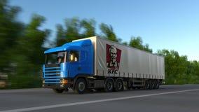 Frakta den halva lastbilen med den Kentucky Fried Chicken KFC logoen som kör längs skogvägen Redaktörs- tolkning 3D Royaltyfria Foton